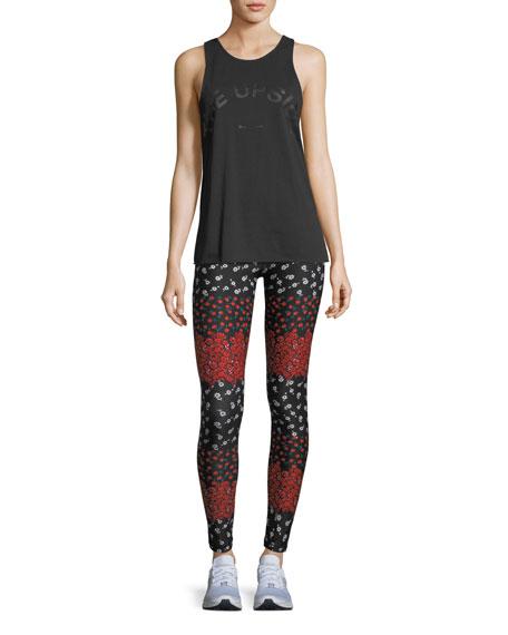 Drawstring Floral-Print Compression Yoga Pants