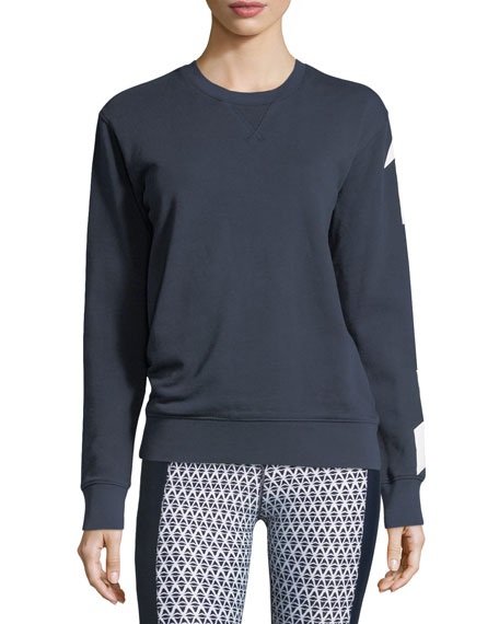 Sid Arrow-Print Crewneck Cotton Pullover Sweatshirt