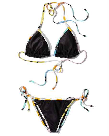 Contrast-Trim Two-Piece Bikini Set