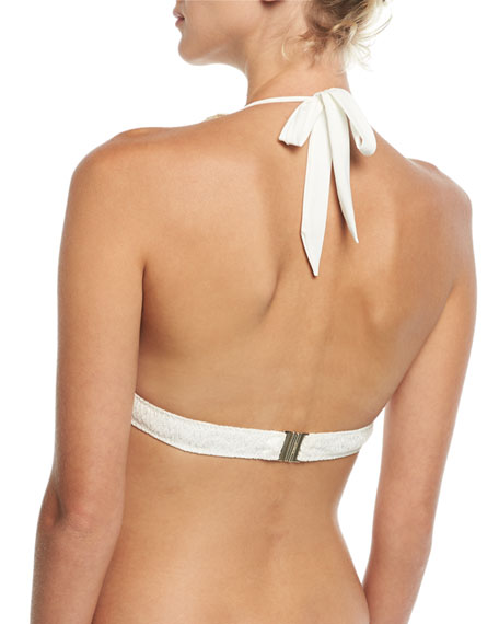 Fringed Knit Halter Swim Top