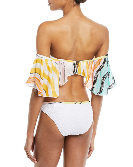 Off-the-Shoulder Multicolor Two-Piece Bikini Swim Set