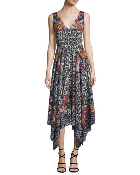 Zuri V-Neck Sleeveless Printed Silk Dress