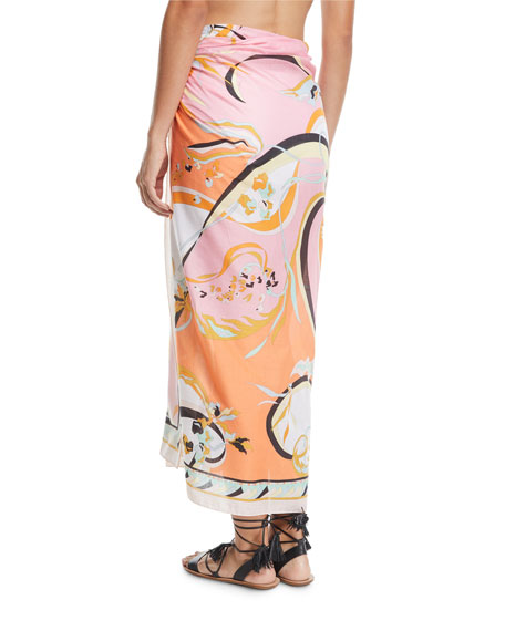 Printed Cotton Pareo Coverup, One Size