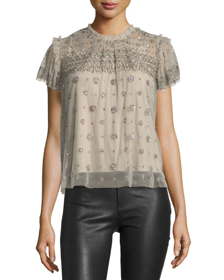 Andromeda High-Neck Embellished Tulle Top