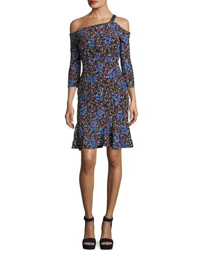 Tricia Off-the-Shoulder Floral-Print Silk Dress