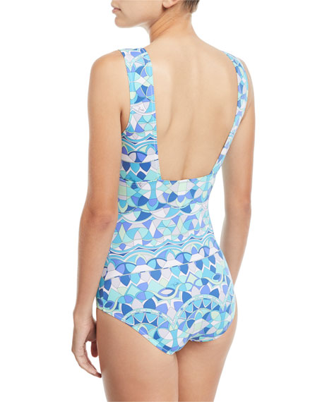 Deep-V Printed One-Piece Swimsuit