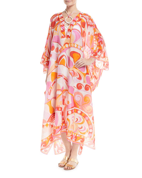 Nigeria-Printed Cotton-Silk Kaftan Coverup with Necklace