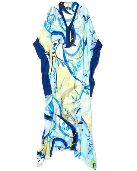 Long-Sleeve Silk Printed Long Kaftan, One Size