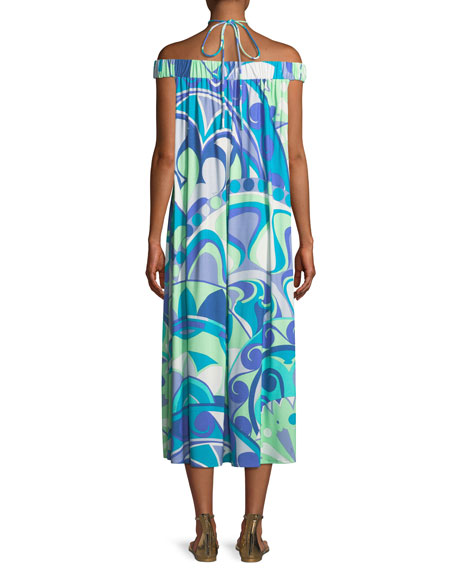 Off-the-Shoulder Printed Jersey Maxi Dress