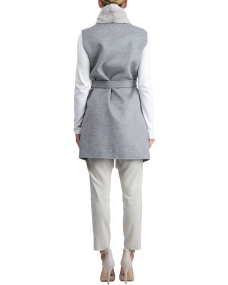 Wool Vest w/ Paneled Fur Trim