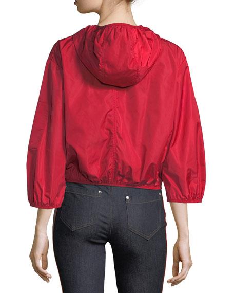 Hooded Taffeta Tech Bomber Jacket