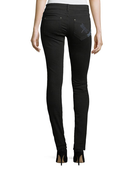 Dragonfly Patch Skinny Jeans