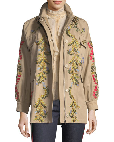 Floral-Vines Embroidered Cotton Jacket