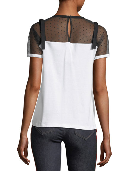Point d'Esprit-Yoke Jersey T-Shirt