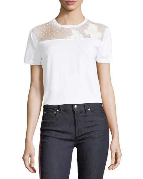 Lace-Yoke Jersey T-Shirt