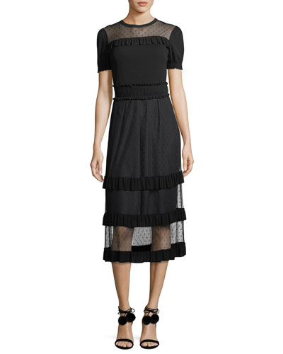Point d'Esprit Paneled Crepe Dress