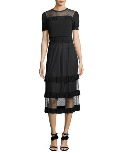 Point d'Esprit Paneled Crepe Dress