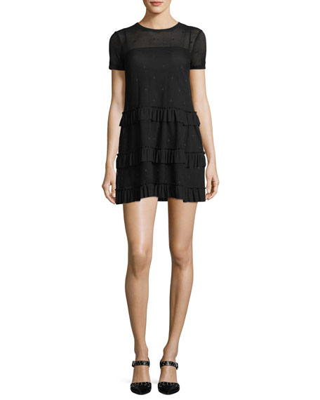 Short-Sleeve Mesh Tiered Ruffle Dress