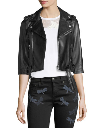 3/4-Sleeve Dragonfly Leather Moto Jacket