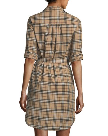 1b352671074 Burberry Check-Print Belted Tunic Dress
