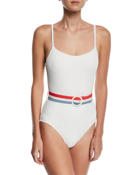 636fa86a37 Solid and Striped The Nina Belted Ribbed Solid One-Piece Swimsuit