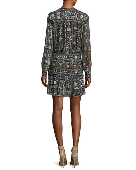 Edison Ruched Flounce-Hem Printed Dress