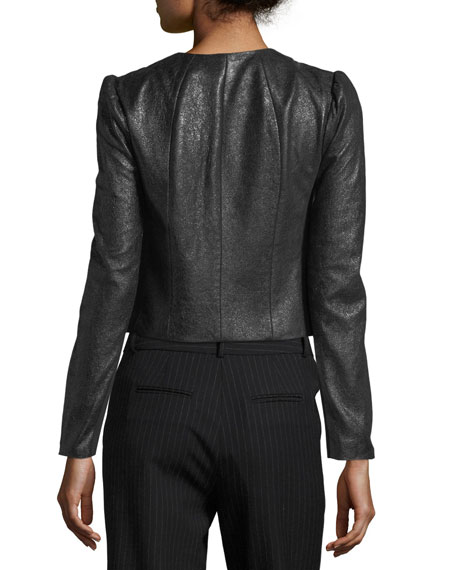 Crackle Zip-Front Pebble Leather Jacket