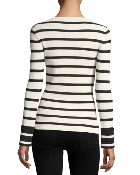 Striped Crewneck Long-Sleeve Top