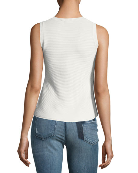 Sleeveless Textured Knit Shell Top