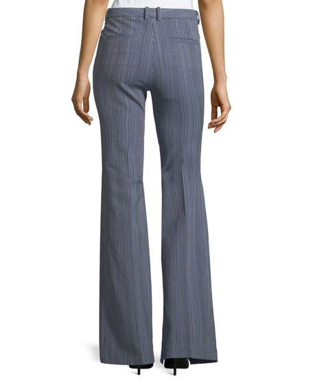 Demitria 2 Eldora Stripe Flared-Leg Wool Pants