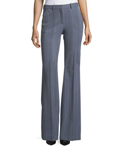 Demitria 2 Eldora Stripe Flared-Leg Wool Pants