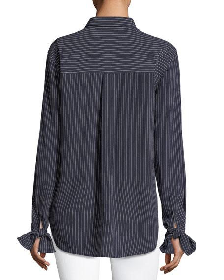 Tie-Cuffs Button-Front Pinstripe Crepe De Chine Silk Blouse