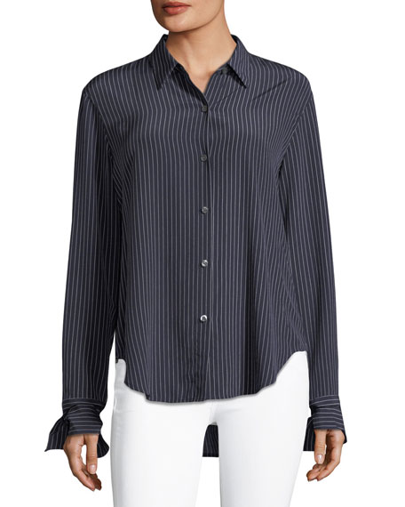 Tie-Cuffs Button-Front Pinstripe Crepe De Chine Silk Blouse