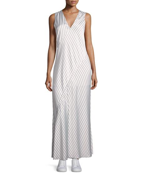 Sleeveless V-Neck Crushed Satin Striped Slip Dress