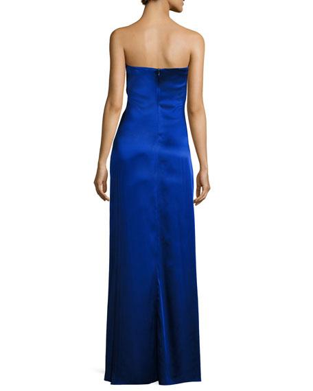 Strapless Draped Satin Side-Slit Gown