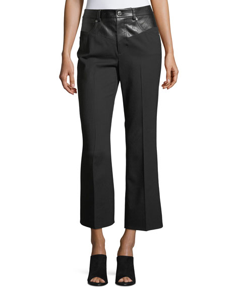 Garter Flared-Leg Cropped Wool Pants