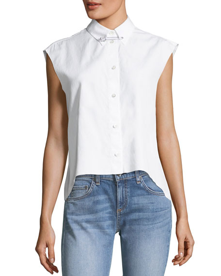 Button-Front Sleeveless Cropped Poplin Shirt