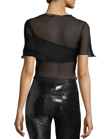 Ruffled Sheer Silk Cropped Top