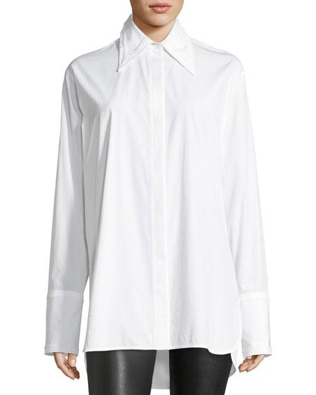 Long-Sleeve Cotton Poplin Shirt with Cutout Back