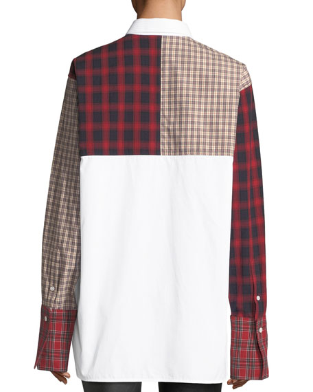 Plaid-Patchwork Cotton Poplin Shirt
