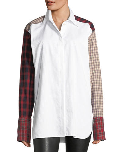 Plaid-Patchwork Cotton Poplin Shirt