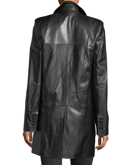 Matrix Button-Front Leather Blazer Jacket