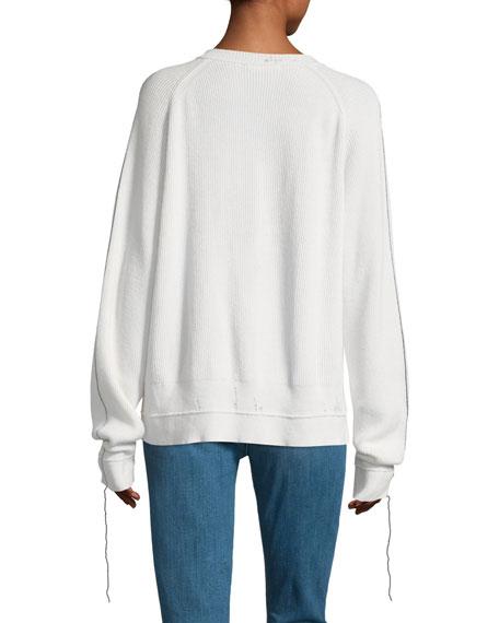 V-Neck Long-Sleeve Cotton-Cashmere Rib-Knit Sweater