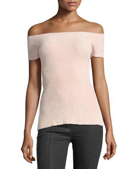 Off-the-Shoulder Seamless Rib-Knit Top