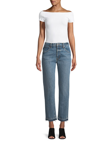 Light-Wash Crease Straight-Leg Jeans