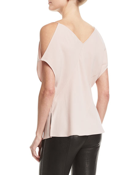 Arimah Bias-Panel Cold-Shoulder Top