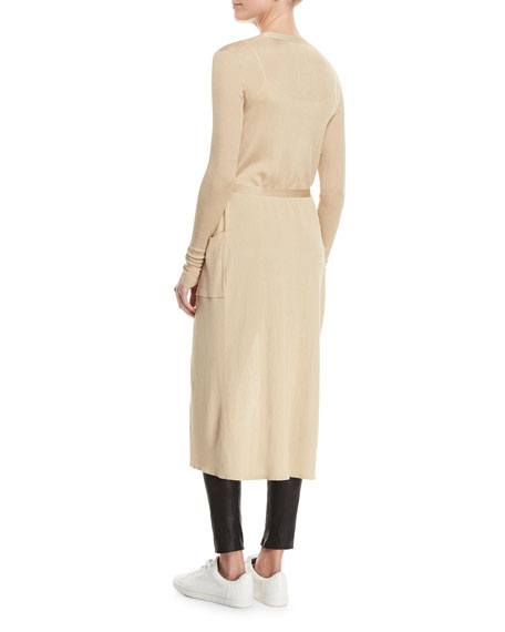 Neil Button-Front Ribbed Long Cardigan with Wrap Tie