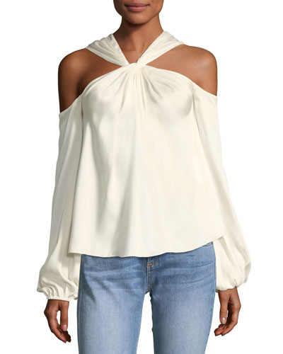 Minnie Twist-Front Long-Sleeve Blouse