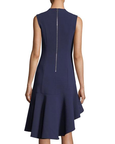 Dev Crewneck Fit-and-Flare Stretch-Crepe Dress