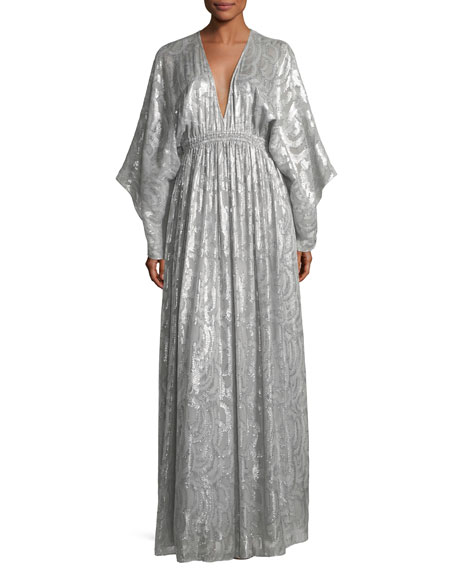 54f41fbda4e Elizabeth and James Raquel Deep-V Long-Sleeve Silk-Metallic Long Caftan  Dress